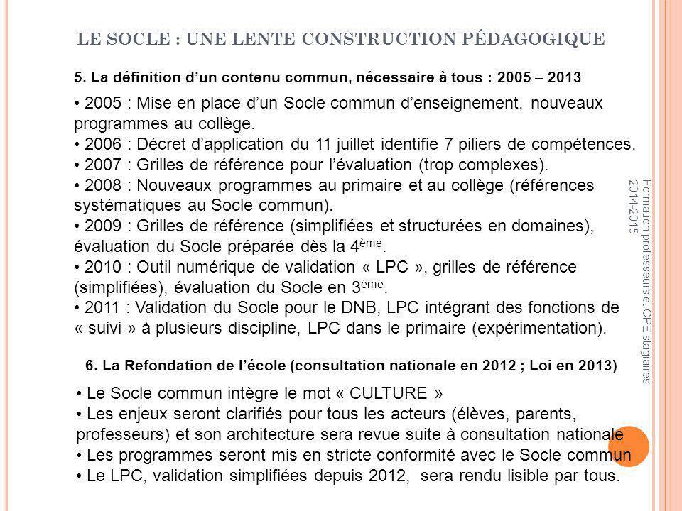 5. La définition d'un contenu commun, nécessaire à tous : 2005 – 2013 2005 : Mise en place d'un Socle commun d'enseignement, nouveaux programmes au co