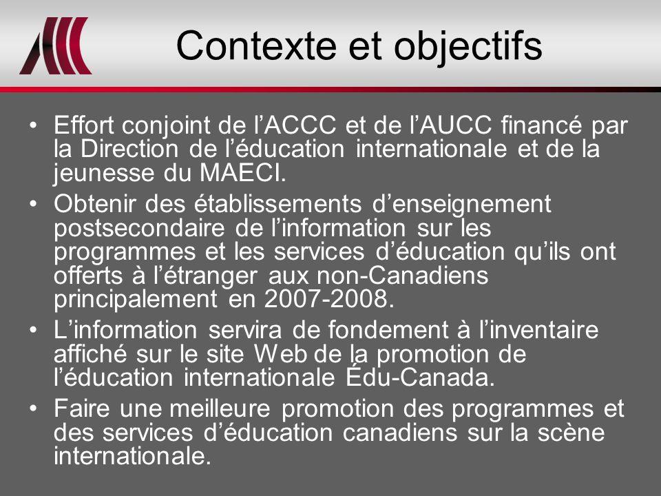 Contexte et objectifs Effort conjoint de l'ACCC et de l'AUCC financé par la Direction de l'éducation internationale et de la jeunesse du MAECI. Obteni