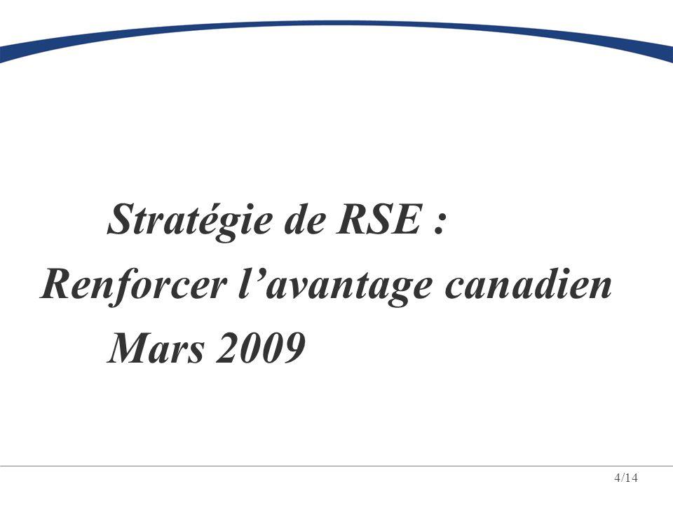 4/14 Stratégie de RSE : Renforcer l'avantage canadien Mars 2009