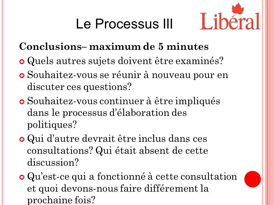 Conclusions– maximum de 5 minutes Quels autres sujets doivent être examinés.