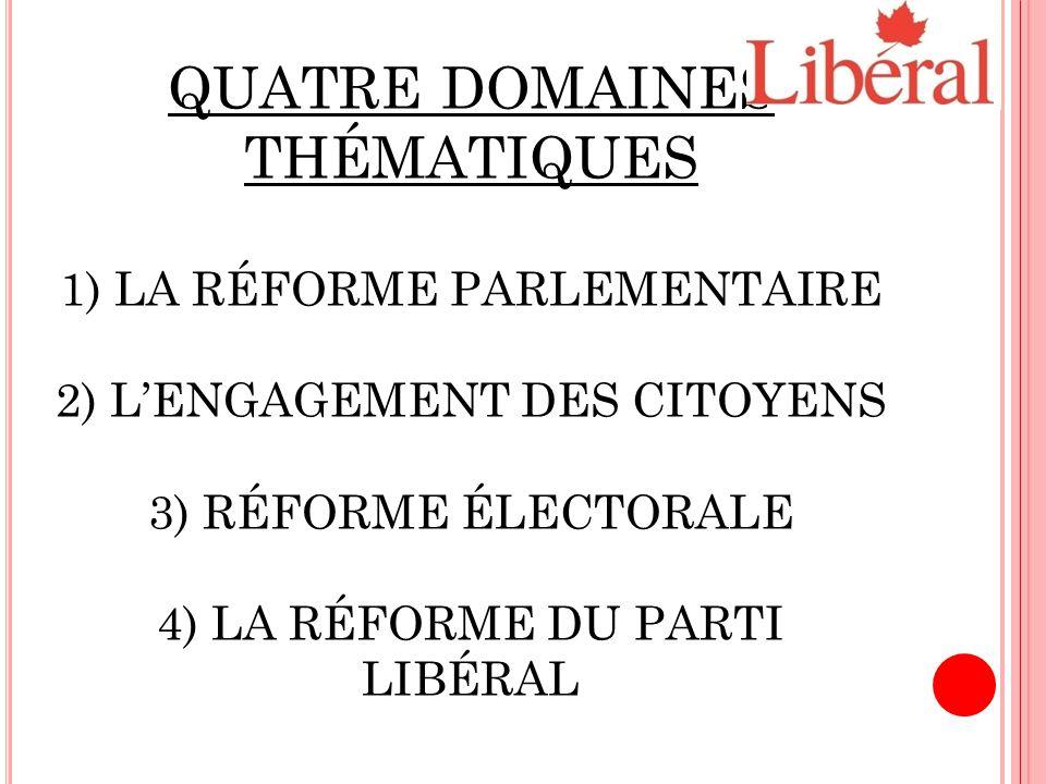 QUATRE DOMAINES THÉMATIQUES 1) LA RÉFORME PARLEMENTAIRE 2) L'ENGAGEMENT DES CITOYENS 3) RÉFORME ÉLECTORALE 4) LA RÉFORME DU PARTI LIBÉRAL