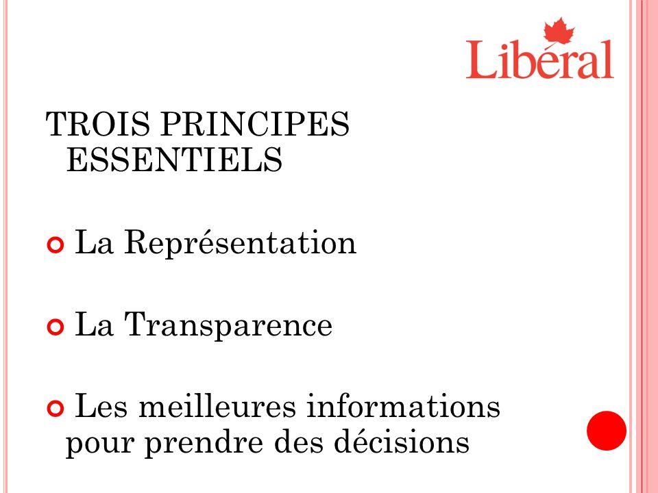 TROIS PRINCIPES ESSENTIELS La Représentation La Transparence Les meilleures informations pour prendre des décisions