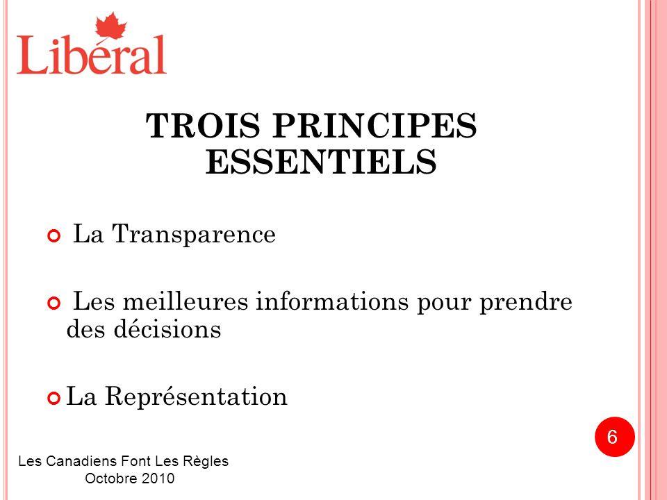 TROIS PRINCIPES ESSENTIELS La Transparence Les meilleures informations pour prendre des décisions La Représentation Les Canadiens Font Les Règles Octobre 2010 6