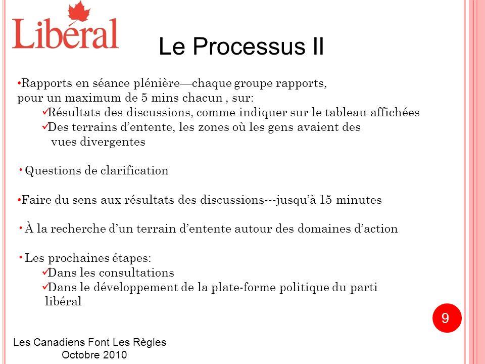 Le Processus II Rapports en séance plénière—chaque groupe rapports, pour un maximum de 5 mins chacun, sur: Résultats des discussions, comme indiquer sur le tableau affichées Des terrains d'entente, les zones où les gens avaient des vues divergentes Questions de clarification Faire du sens aux résultats des discussions---jusqu'à 15 minutes À la recherche d'un terrain d'entente autour des domaines d'action Les prochaines étapes: Dans les consultations Dans le développement de la plate-forme politique du parti libéral Les Canadiens Font Les Règles Octobre 2010 9