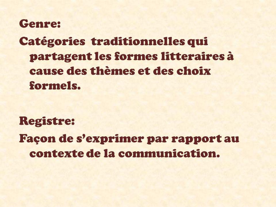 Genre: Catégories traditionnelles qui partagent les formes litteraires à cause des thèmes et des choix formels. Registre: Façon de s'exprimer par rapp