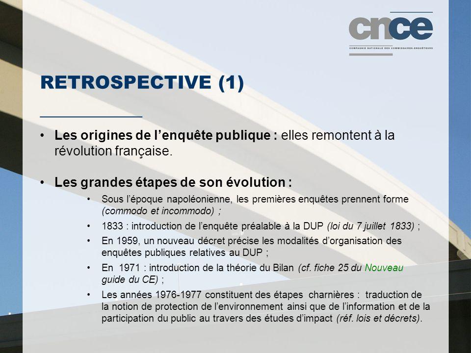 RETROSPECTIVE (1) ___________ Les origines de l'enquête publique : elles remontent à la révolution française. Les grandes étapes de son évolution : So