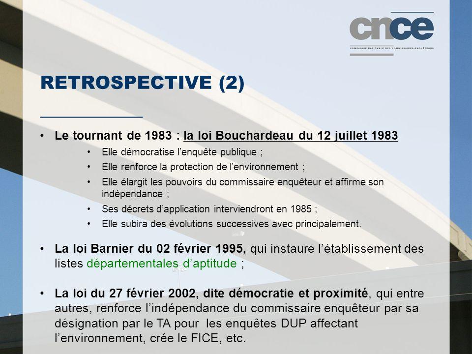 RETROSPECTIVE (2) ___________ Le tournant de 1983 : la loi Bouchardeau du 12 juillet 1983 Elle démocratise l'enquête publique ; Elle renforce la prote
