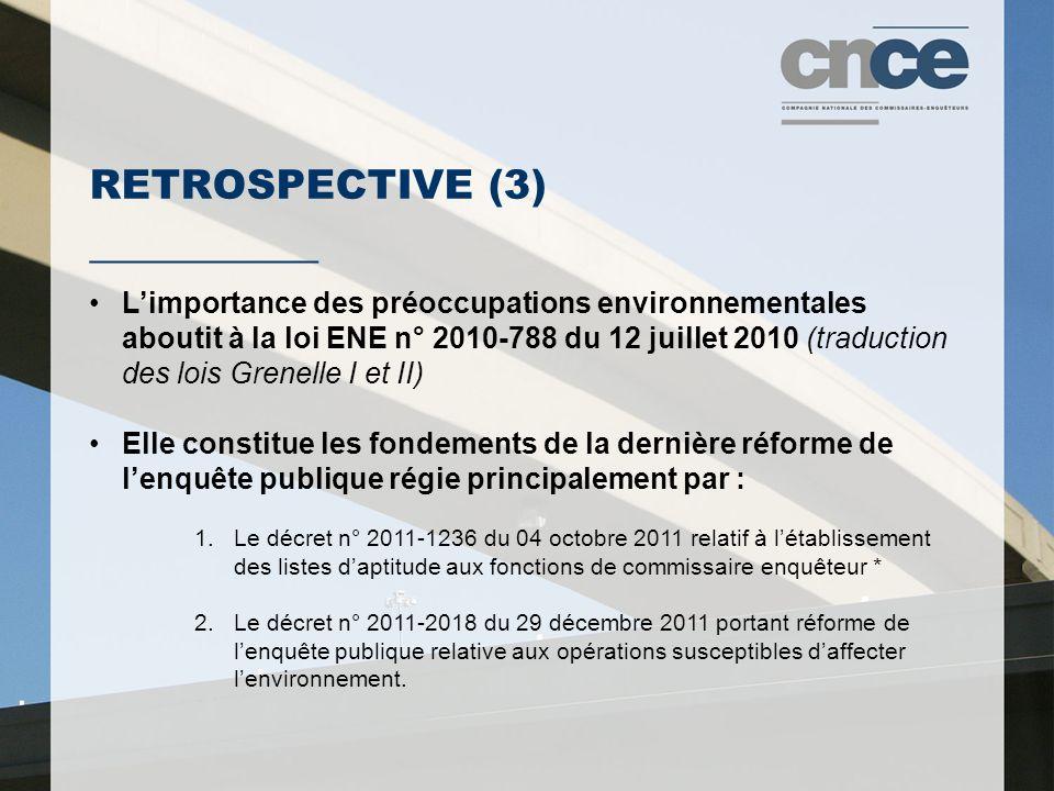 RETROSPECTIVE (3) ___________ L'importance des préoccupations environnementales aboutit à la loi ENE n° 2010-788 du 12 juillet 2010 (traduction des lo