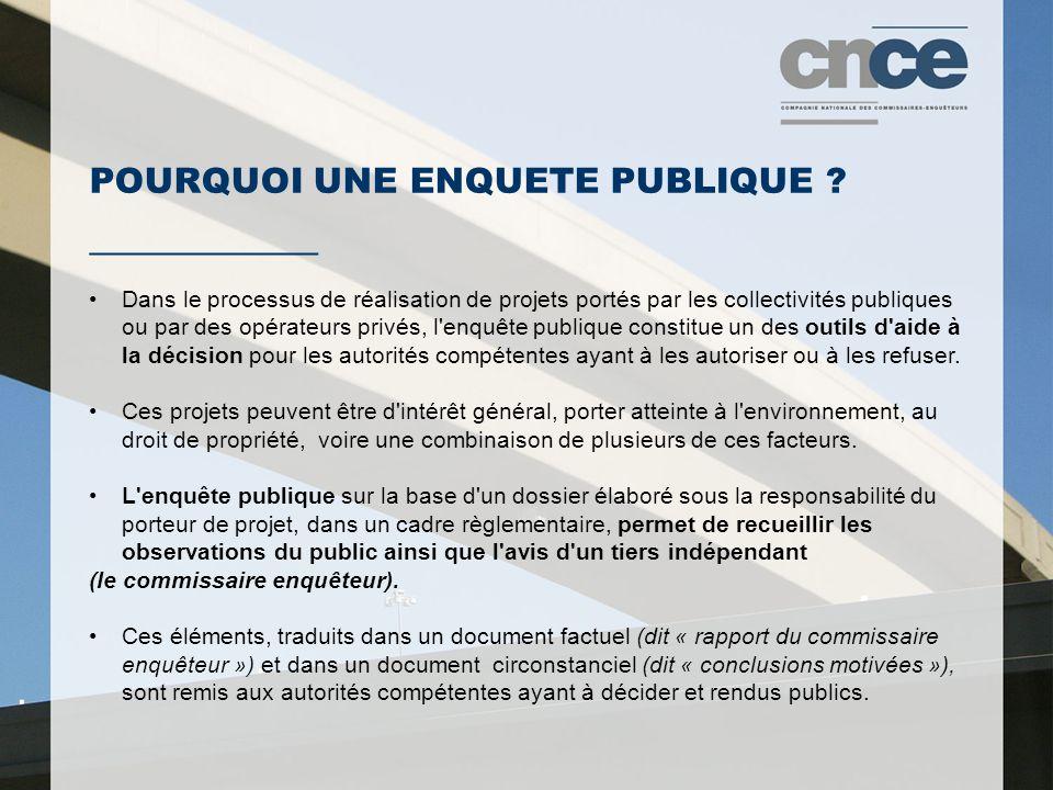 POURQUOI UNE ENQUETE PUBLIQUE ? ___________ Dans le processus de réalisation de projets portés par les collectivités publiques ou par des opérateurs p