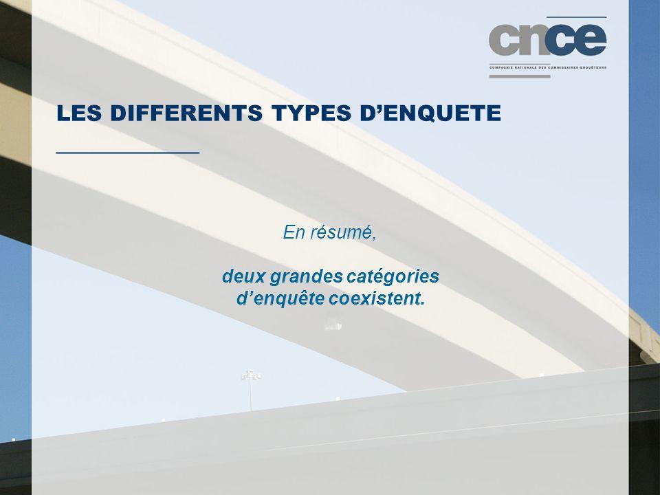 LES DIFFERENTS TYPES D'ENQUETE ___________ En résumé, deux grandes catégories d'enquête coexistent.