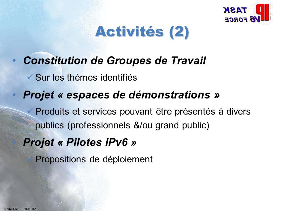 IPv6TF/2 30.09.02 Activités (2) Constitution de Groupes de Travail Sur les thèmes identifiés Projet « espaces de démonstrations » Produits et services pouvant être présentés à divers publics (professionnels &/ou grand public) Projet « Pilotes IPv6 » Propositions de déploiement