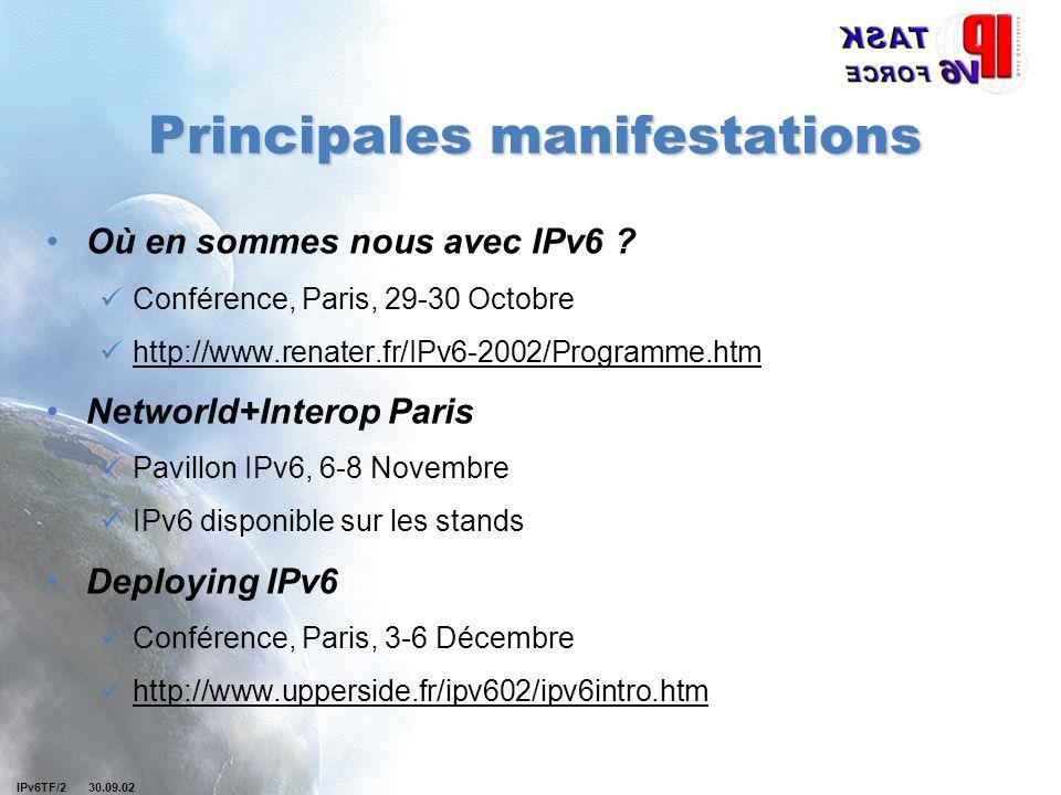 IPv6TF/2 30.09.02 Principales manifestations Où en sommes nous avec IPv6 ? Conférence, Paris, 29-30 Octobre http://www.renater.fr/IPv6-2002/Programme.