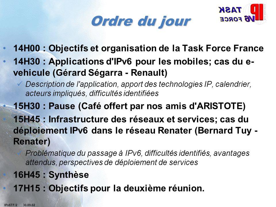 IPv6TF/2 30.09.02 Ordre du jour 14H00 : Objectifs et organisation de la Task Force France 14H30 : Applications d'IPv6 pour les mobiles; cas du e- vehi