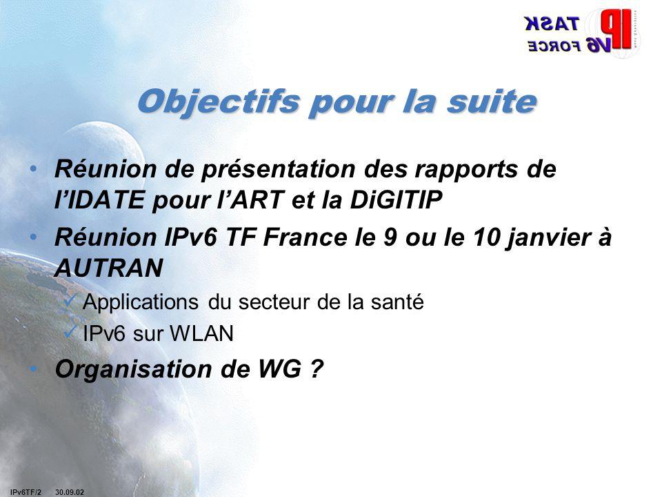 Objectifs pour la suite Réunion de présentation des rapports de l'IDATE pour l'ART et la DiGITIP Réunion IPv6 TF France le 9 ou le 10 janvier à AUTRAN
