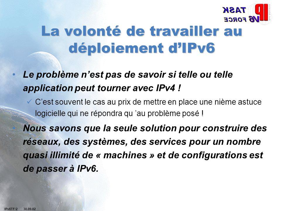 IPv6TF/2 30.09.02 La volonté de travailler au déploiement d'IPv6 Le problème n'est pas de savoir si telle ou telle application peut tourner avec IPv4 .