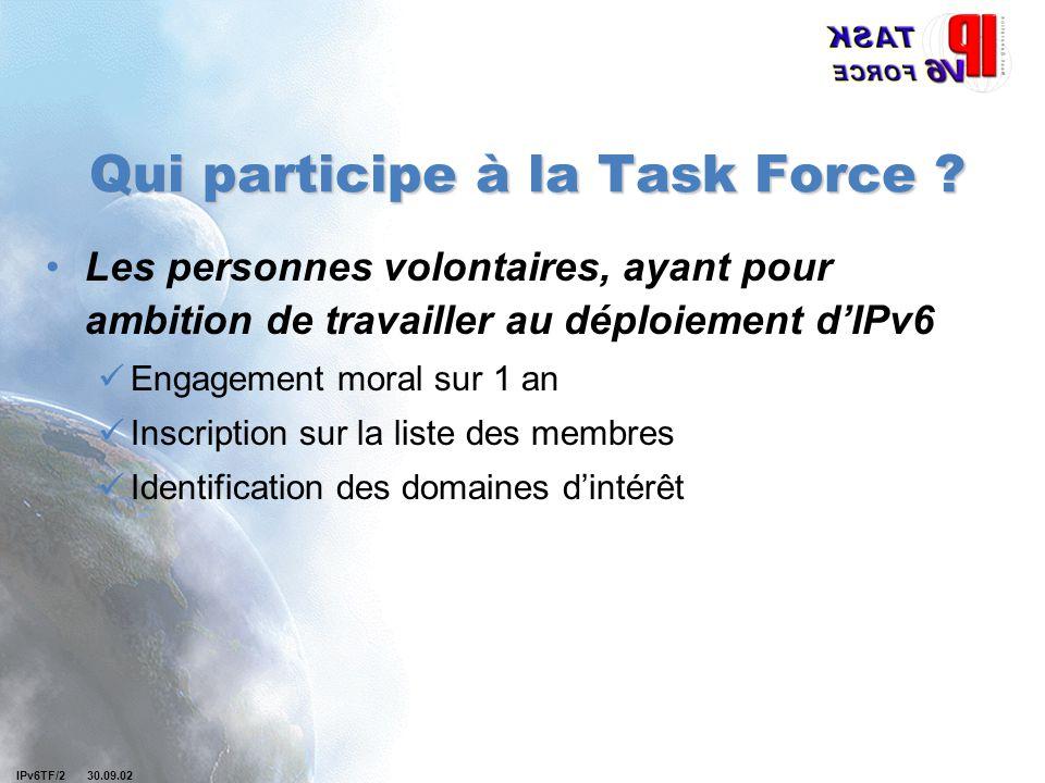 IPv6TF/2 30.09.02 Qui participe à la Task Force ? Les personnes volontaires, ayant pour ambition de travailler au déploiement d'IPv6 Engagement moral
