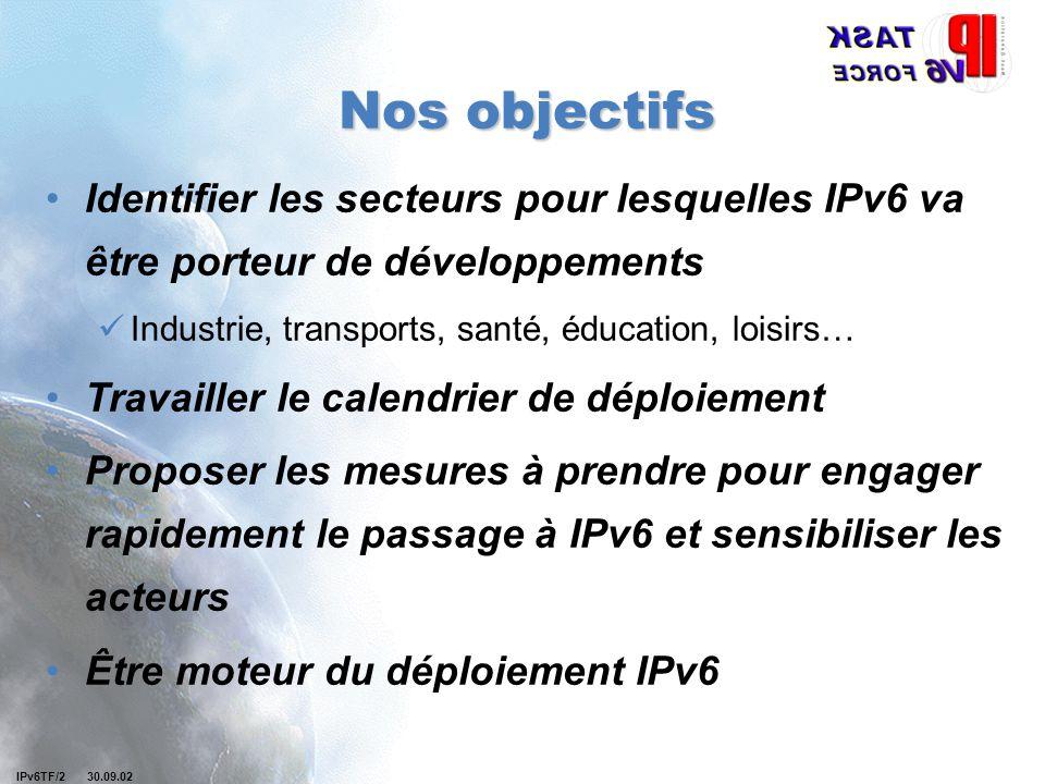 IPv6TF/2 30.09.02 Nos objectifs Identifier les secteurs pour lesquelles IPv6 va être porteur de développements Industrie, transports, santé, éducation, loisirs… Travailler le calendrier de déploiement Proposer les mesures à prendre pour engager rapidement le passage à IPv6 et sensibiliser les acteurs Être moteur du déploiement IPv6