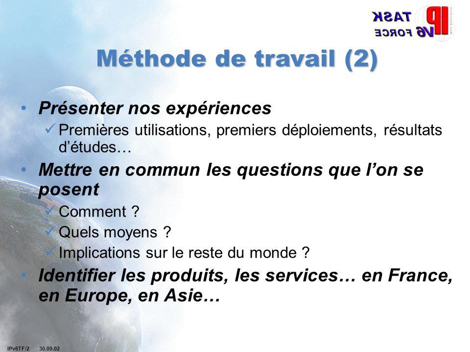Objectifs pour la suite Réunion de présentation des rapports de l'IDATE pour l'ART et la DiGITIP Réunion IPv6 TF France le 9 ou le 10 janvier à AUTRAN Applications du secteur de la santé IPv6 sur WLAN Organisation de WG ?