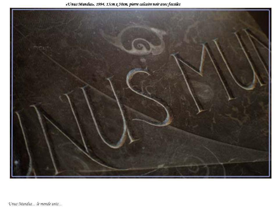 «Unus Mundus», 1994, 15cm x 30cm, pierre calcaire noir avec fossiles Unus Mundus... le monde unis...