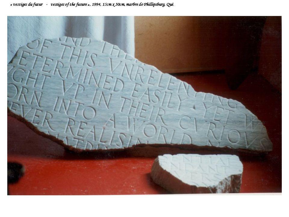 « vestiges du futur - vestiges of the future », 1994, 15cm x 30cm, marbre de Phillipsburg, Qué.