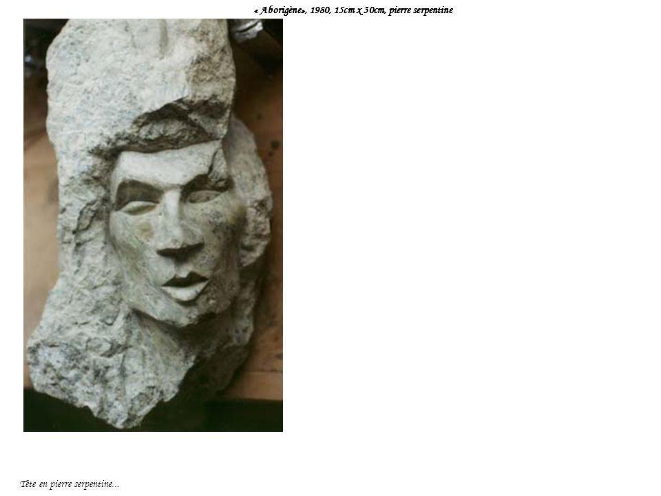 « Aborigène», 1980, 15cm x 30cm, pierre serpentine Tête en pierre serpentine...