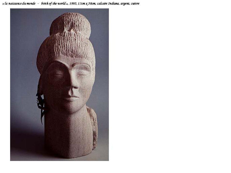 « la naissance du monde - birth of the world », 1993, 15cm x 30cm, calcaire Indiana, argent, cuivre