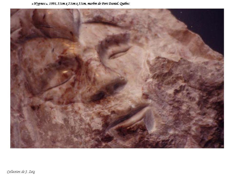 « Hypnos », 1991, 35cm x 25cm x 35cm, marbre de Port Daniel, Québec Collection de J. Zeig