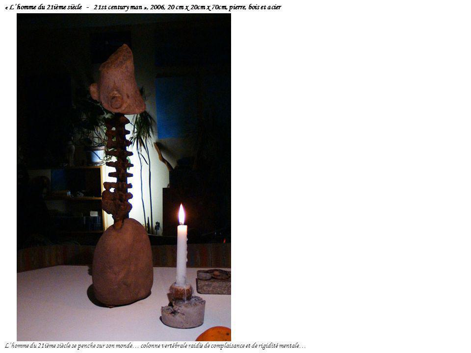 « L'homme du 21ième siècle - 21st century man », 2006, 20 cm x 20cm x 70cm, pierre, bois et acier L'homme du 21ième siècle se penche sur son monde… co