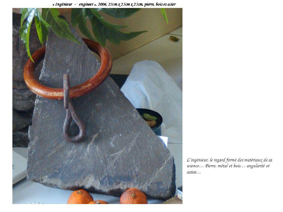 « Ingénieur - engineer », 2006, 25cm x 25cm x 25cm, pierre, bois et acier L'ingénieur, le regard formé des matériaux de sa science… Pierre, métal et b