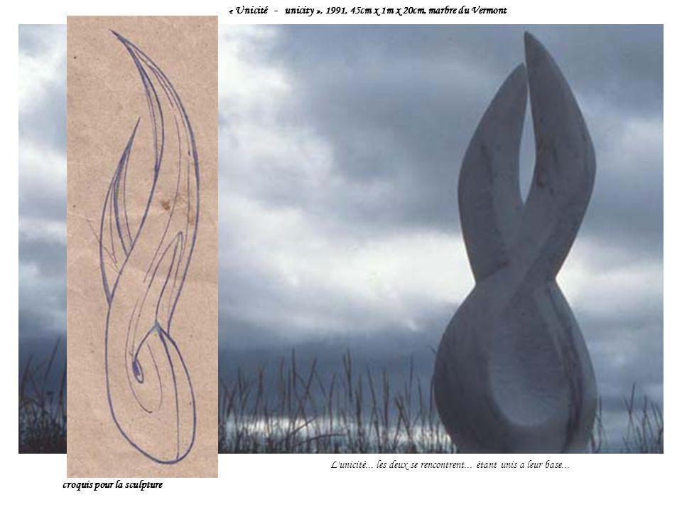 « Unicité - unicity », 1991, 45cm x 1m x 20cm, marbre du Vermont L'unicité... les deux se rencontrent... étant unis a leur base... croquis pour la scu