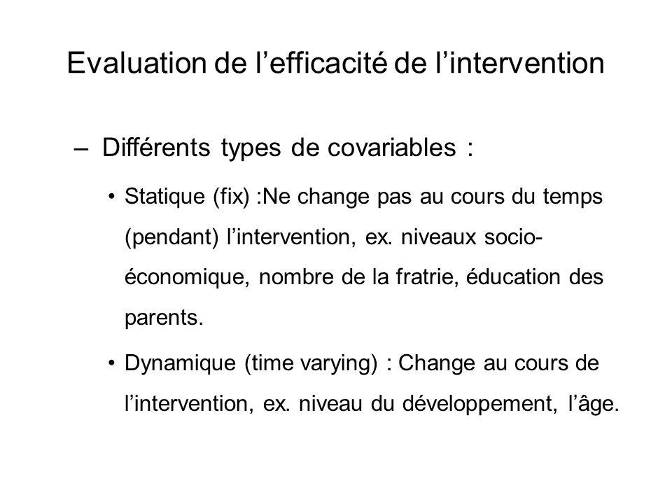 Evaluation de l'efficacité de l'intervention – Différents types de covariables : Statique (fix) :Ne change pas au cours du temps (pendant) l'intervent