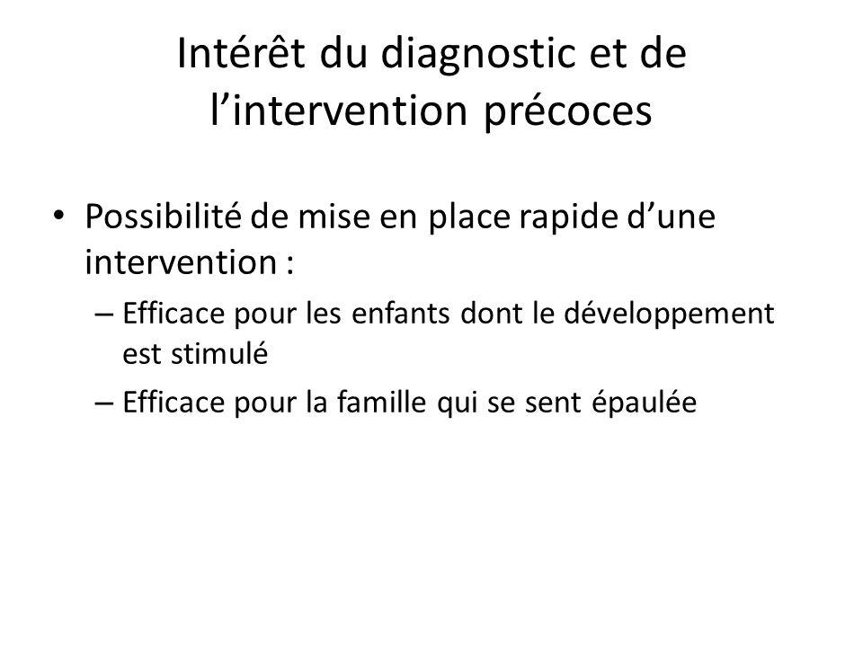 Intérêt du diagnostic et de l'intervention précoces Possibilité de mise en place rapide d'une intervention : – Efficace pour les enfants dont le développement est stimulé – Efficace pour la famille qui se sent épaulée