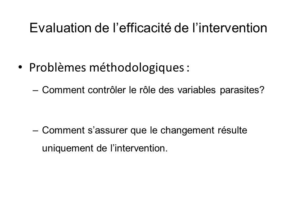 Evaluation de l'efficacité de l'intervention Problèmes méthodologiques : –Comment contrôler le rôle des variables parasites? –Comment s'assurer que le