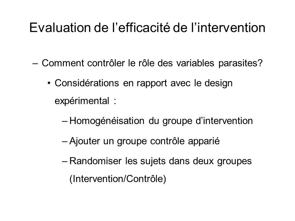 Evaluation de l'efficacité de l'intervention –Comment contrôler le rôle des variables parasites? Considérations en rapport avec le design expérimental
