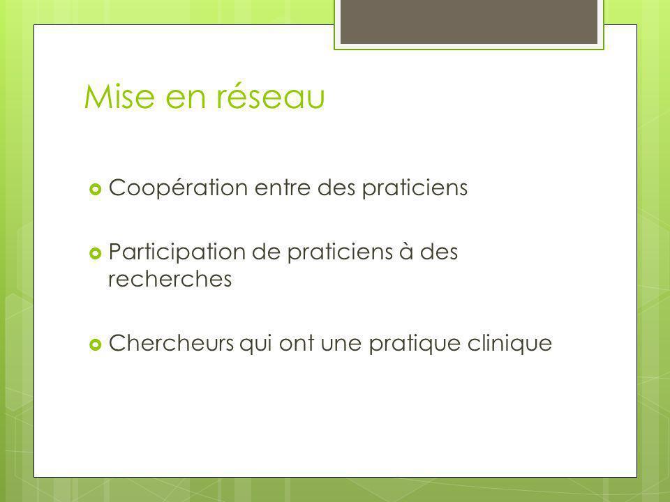 Mise en réseau  Coopération entre des praticiens  Participation de praticiens à des recherches  Chercheurs qui ont une pratique clinique