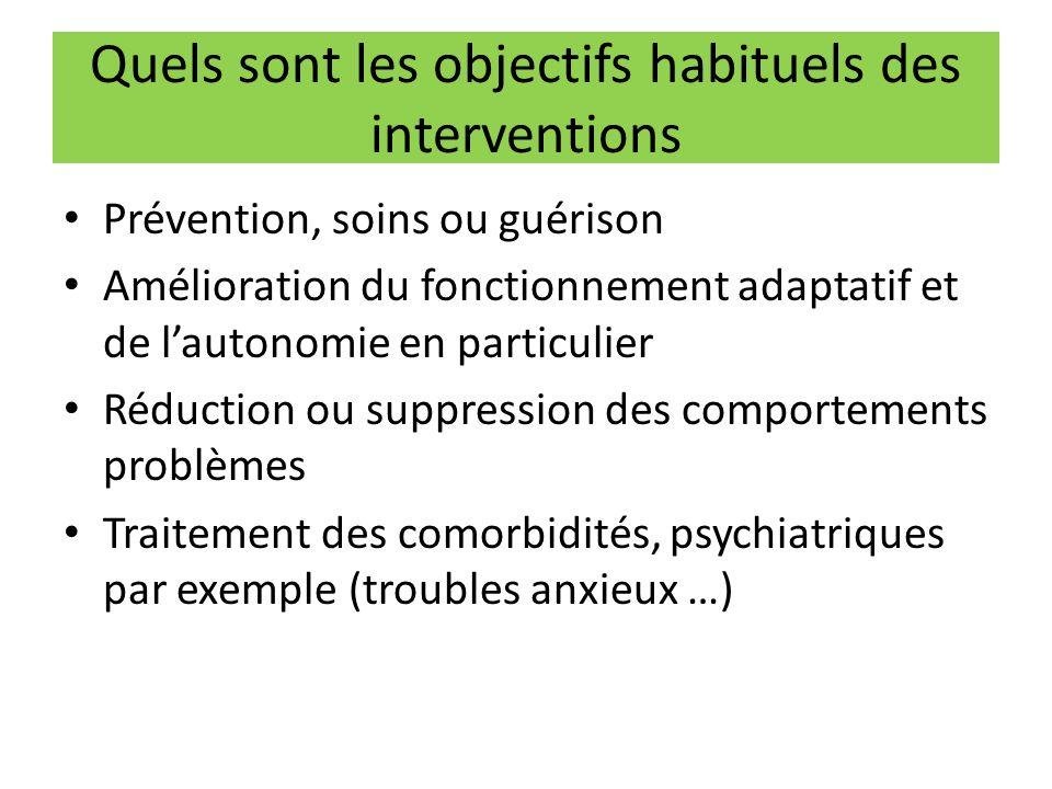 Quels sont les objectifs habituels des interventions Prévention, soins ou guérison Amélioration du fonctionnement adaptatif et de l'autonomie en parti