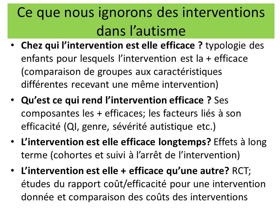 Ce que nous ignorons des interventions dans l'autisme Chez qui l'intervention est elle efficace ? typologie des enfants pour lesquels l'intervention e