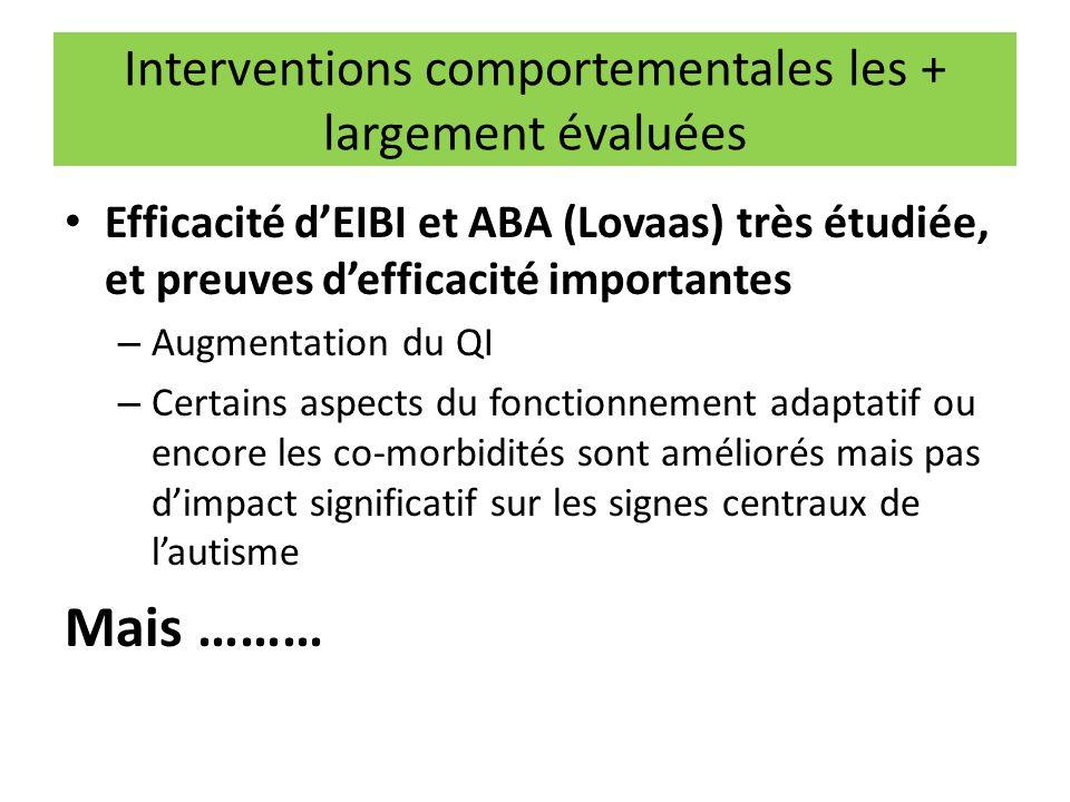 Interventions comportementales les + largement évaluées Efficacité d'EIBI et ABA (Lovaas) très étudiée, et preuves d'efficacité importantes – Augmenta