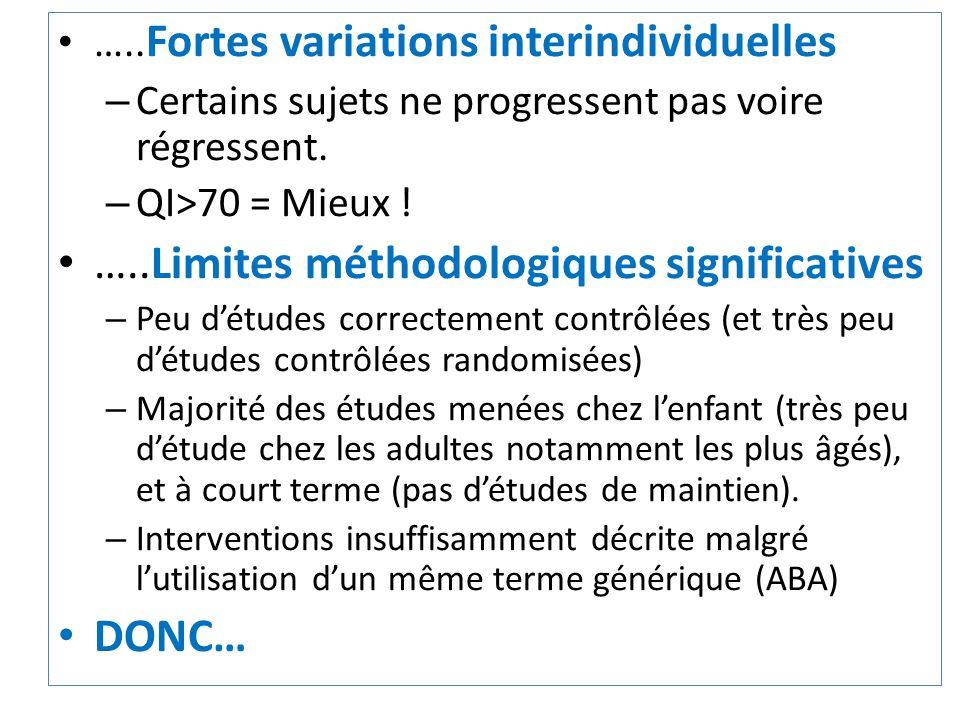 ….. Fortes variations interindividuelles – Certains sujets ne progressent pas voire régressent. – QI>70 = Mieux ! …..Limites méthodologiques significa