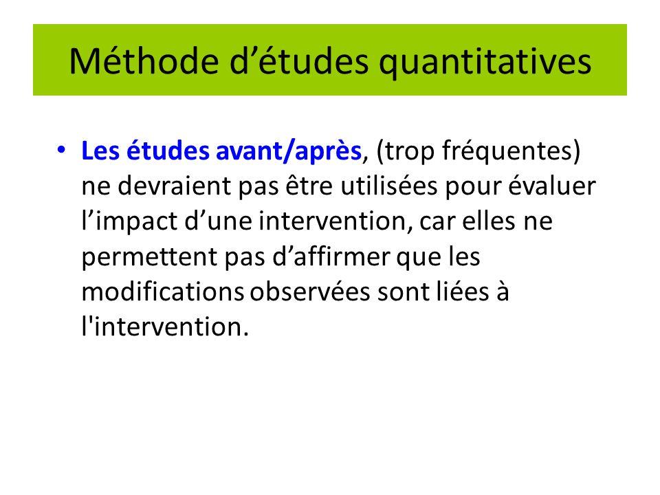 Méthode d'études quantitatives Les études avant/après, (trop fréquentes) ne devraient pas être utilisées pour évaluer l'impact d'une intervention, car