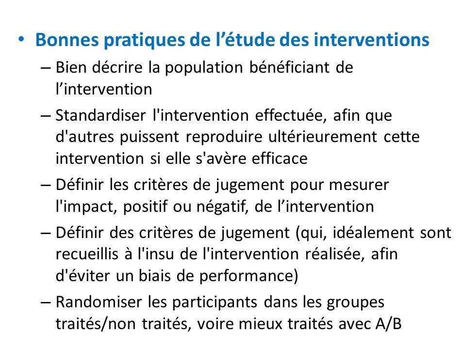 Bonnes pratiques de l'étude des interventions – Bien décrire la population bénéficiant de l'intervention – Standardiser l'intervention effectuée, afin