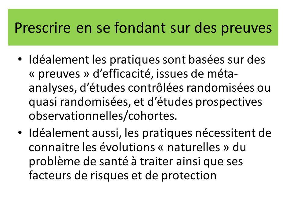 Prescrire en se fondant sur des preuves Idéalement les pratiques sont basées sur des « preuves » d'efficacité, issues de méta- analyses, d'études cont