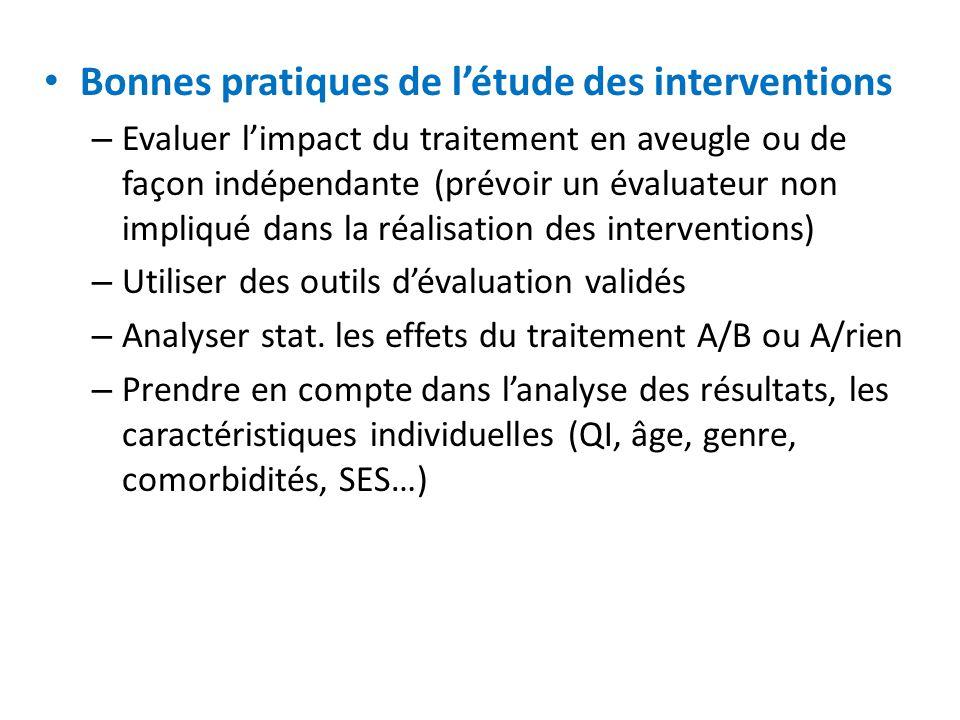 Bonnes pratiques de l'étude des interventions – Evaluer l'impact du traitement en aveugle ou de façon indépendante (prévoir un évaluateur non impliqué