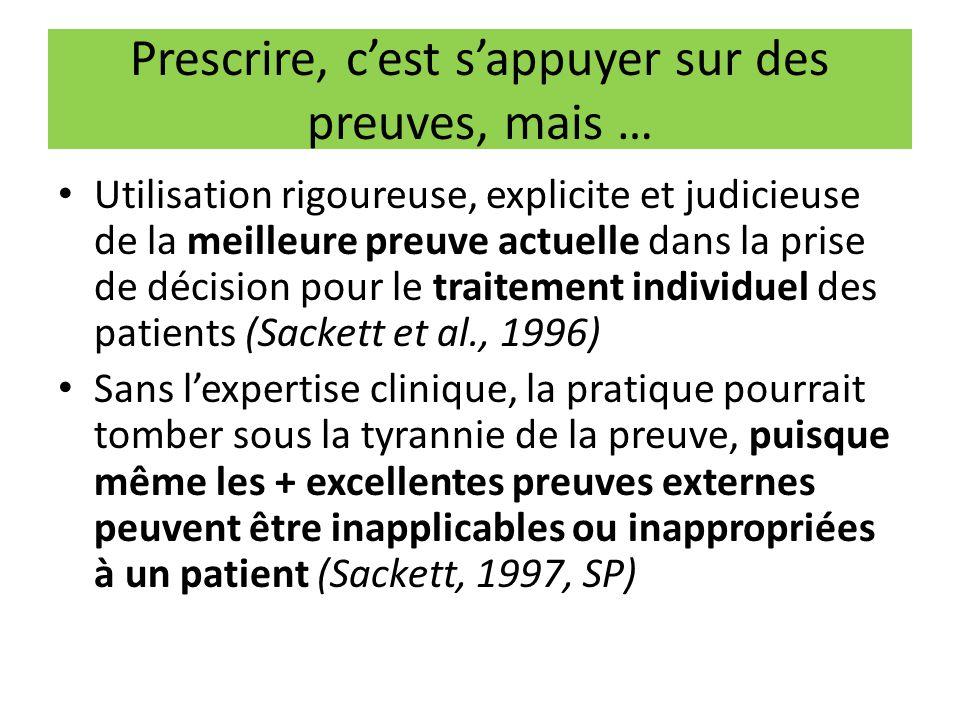Prescrire, c'est s'appuyer sur des preuves, mais … Utilisation rigoureuse, explicite et judicieuse de la meilleure preuve actuelle dans la prise de dé