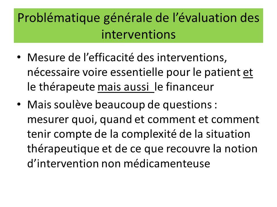 Problématique générale de l'évaluation des interventions Mesure de l'efficacité des interventions, nécessaire voire essentielle pour le patient et le