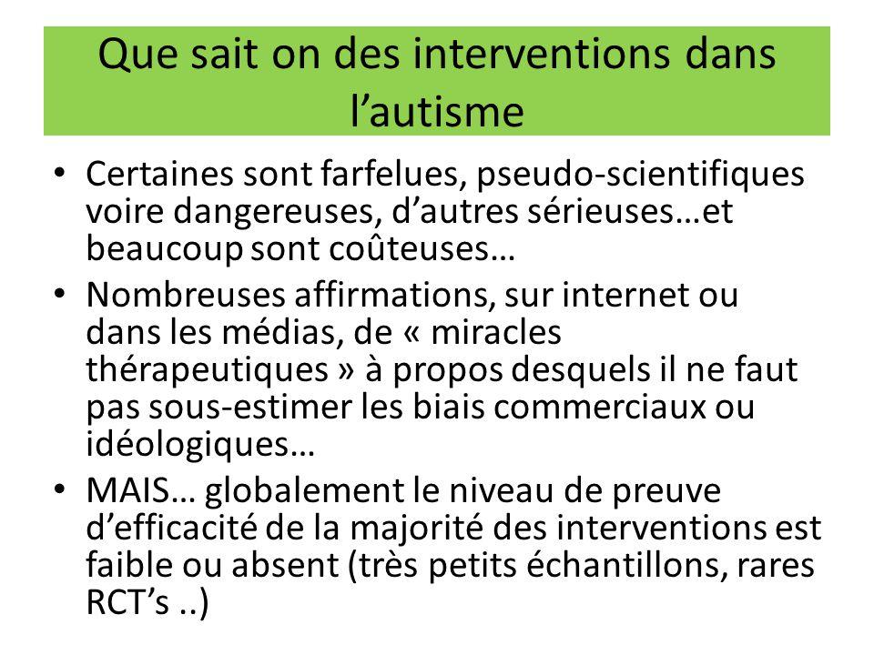 Que sait on des interventions dans l'autisme Certaines sont farfelues, pseudo-scientifiques voire dangereuses, d'autres sérieuses…et beaucoup sont coû