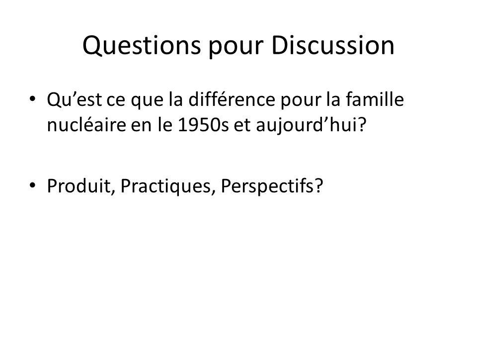 Questions pour Discussion Qu'est ce que la différence pour la famille nucléaire en le 1950s et aujourd'hui? Produit, Practiques, Perspectifs?