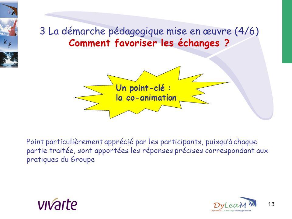 3 La démarche pédagogique mise en œuvre (4/6) Comment favoriser les échanges ? Point particulièrement apprécié par les participants, puisqu'à chaque p