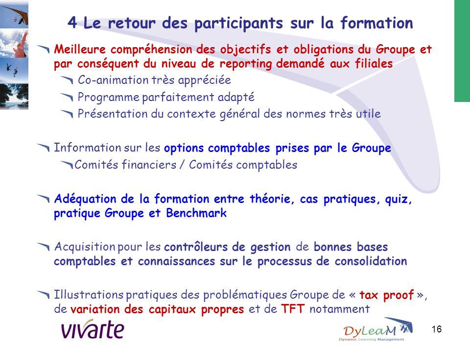 4 Le retour des participants sur la formation Meilleure compréhension des objectifs et obligations du Groupe et par conséquent du niveau de reporting