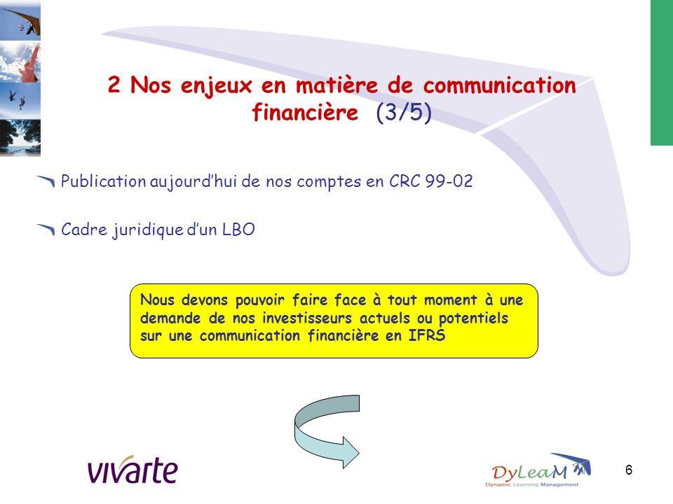 2 Nos enjeux en matière de communication financière (3/5) Publication aujourd'hui de nos comptes en CRC 99-02 Cadre juridique d'un LBO 6 Nous devons p